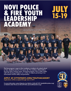 Novi Police & Fire Youth Leadership Academy Flyer