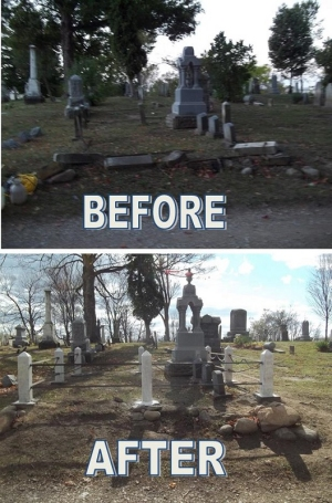 Before and After pictures of Novi Cemetery Restoration