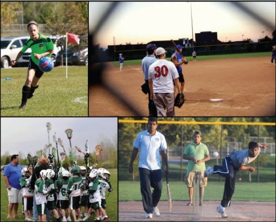 Collage of Sports being played in Novi