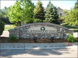Greenwood Oaks sign