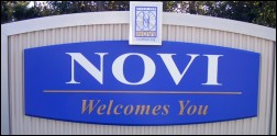 Novi Welcomes You sign